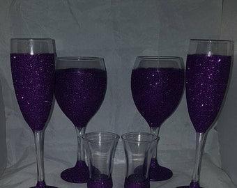 6 x glitter glass set, glitter glasses, glittered glasses, Cadbury purple glass, purple wine glasses, party set, glitter glass bundle