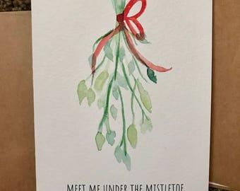 Meet me under the mistletoe blank greeting card
