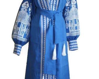 Bohemian Clothing Kaftan Abaya Dress Vyshyvanka Woman Ukrainian Embroidery Boho Dresses Vishivanka  Folk Ukraine Open in front