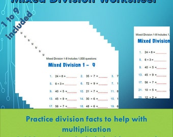 Division Facts Drill Worksheet pdf/ Year 4, 5, 6/ Grade 3,4,5,6/ With Answers/ Numeracy Games Kids/ Printable division ks2/ 1000 questions