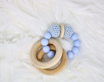 silicone baby teether, baby blue teether, newborn teether, newborn baby toy, teething toy, crochet teether, double ring teether, baby rattle