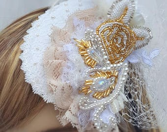 Bridal Hat with Birdcage Veil / Wedding Hat with Blusher / Wedding Hat with Birdcage Veil / Bridal Hat with Blusher / Ivory Hat with Blusher