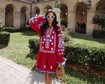 Embroidered tunic ukrainian embroidery vyshyvanka bohemian dresses vishivanka custom boho dress ethnic Ukraine clothing plus size mini dress