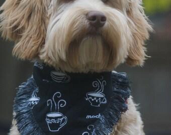 dog bandana // gift for dog // fringed bandana // frayed bandana // plaid bandana // coffee bandana // I love you a latte