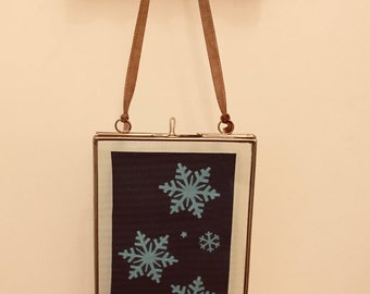 Winter Christmas Snowflake Cyanotype Sunprint