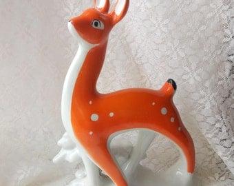Vintage figure of a deer Statuette of a deer Porcelain statuette Animal figurine Soviet statuette Made in USSR Rustic decor Soviet porcelain