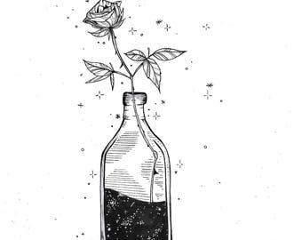 Bottle and Rose illustration/Tattoodesign/Fineliner