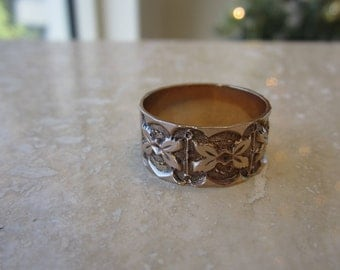 antique 14k rose gold wide band with detail