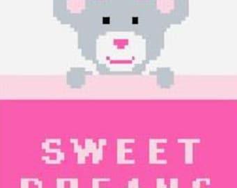 Sweet Dreams C2C Crochet Graph Chart.