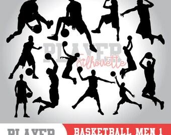 Basketball men SVG, basketball player svg,basketball digital clipart, athlete silhouette,basketball men sport,cut file,design,A-009