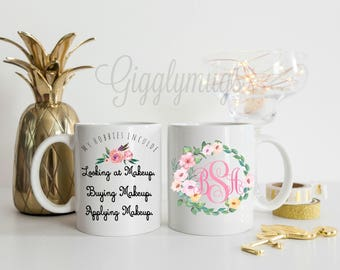 Makeup Artist Coffee Mug/I love makeuo Coffee Mug/I came I saw I contoured/Personalized Make up Coffee Cup/Make up Monogram Mug