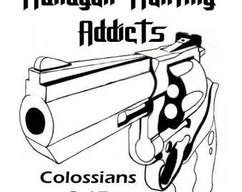 5in/6in/7in/8in/9in/10in Revolver - Handgun Hunting Addict Decal