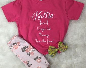 """What's In a Name? Toddler Custom Personalized Name Definition Tee """"Kallie"""""""
