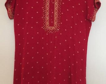 Vintage Red Boho Dress
