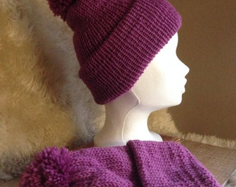 Pure Wool Bobble hat- Woollen Beanie Hat