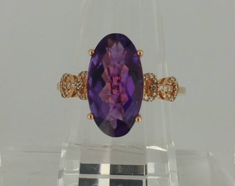 14KT Rose Gold Ring with 4.5ctw Amethyst and .13ctw Diamond Accents