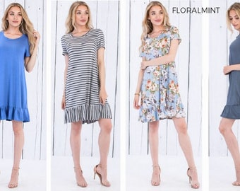 Floralmint Women's Short Sleeve Ruffle Hem  Dress