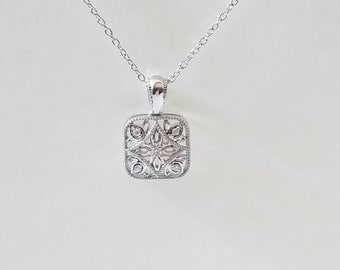 Sterling Silver .05 CTW Filigree Diamond Necklace