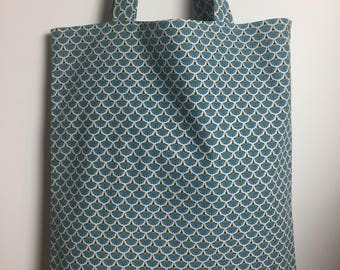 Tote Bag printed fabric 100% cotton and completely reversible House