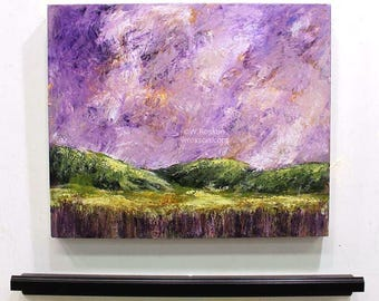 Violet Sky, Lavender Sky, Green Hills, Original Painting, Landscape Painting, Winjimir, Home Decor, Office Art, Wall Art, Design, Gift, Art