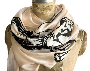 Scales of Justice Scarf, Lady Justice, Blind Justice Luxe Weight Printed Scarf. Gift for lawyer, gift for attorney, gift for judge.