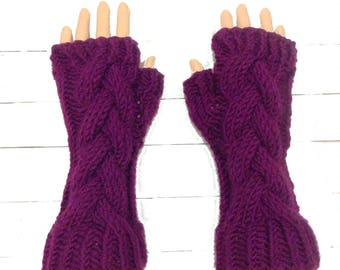 Branch Cable Fingerless Gloves Knitting Pattern - Womens Cable Gloves Pattern - Fingerless Gloves Pattern - Bulky Yarn Pattern