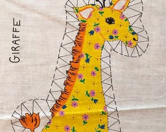 Vintage Fabric Panel to sew a Giraffe Pillow 1980's sew and stuff fabric panel - Free US Shipping
