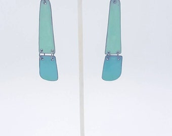 Enamel Long Hinged Earrings in milk paint blue and mint