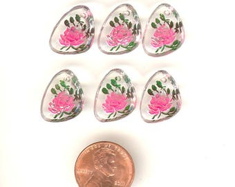 6 Vintage Glass Intaglio Flower Pendants Shades Of Pink Reverse Painted 16mm No. 14A