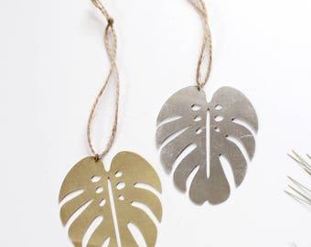 Monstera Leaf Ornament | Monstera Ornament | Metal Ornament | Brass Ornament | Plant Ornament | Tree Ornament | Christmas Stocking Stuffer