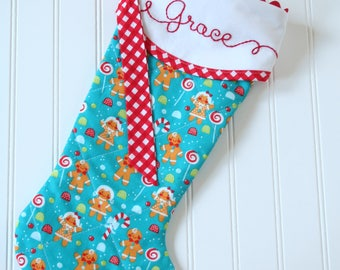 Personalized Christmas Stockings, Quilted Christmas Stockings, Hand Embroidered Personalization, Gingerbread Kids Stocking