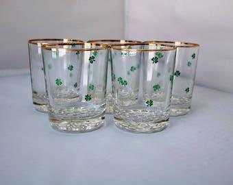 Set of 5 Shamrock Cocktail Glasses- Green Shamrocks- Gold Trim- Gilt Edge- Old Fashioned Rocks - Vintage Barware- St Patrick's Day- 12 oz