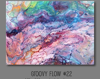Groovy Abstract Acrylic Flow Painting #22 Ready to Hang 12x16