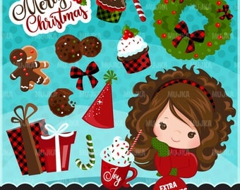 Sweet Christmas Clipart. Gingerbread man, cookies, noel graphics, gifts, hot chocolate, cupcakes, characters, african american, wreath, art