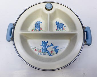 Little Boy Blue - warming baby plate - cute and useful