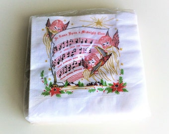 Songs Of Christmas Napkins Sealed in Original Packaging , It Came Upon A Midnight Clear Angels With Harps Napkins , Retro Christmas