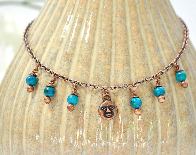 Charm Anklet Moon Ankle Bracelet Moon Charm Anklet Celestial Ankle Bracelet Blue Copper Charm Anklet Handmade Anklet
