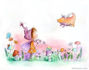 Lizzie Pepperspark Finds a Curious Creature In the Garden - Fairy with Auburn Hair  - Fairy Art - Art Print
