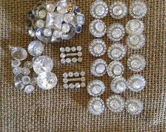 Vintage rhinestone button lot, rhinestone scarf clip for upcycle, repair lot for repurpose, jewelry making kit, stunning rhinestone lot