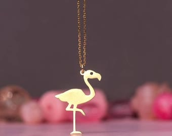 Flamingo Necklace Tropical Bird Pendant Sterling Silver Kids Teen Jewelry Rose Gold charm Birthday gift Mom Sale pink summer beach