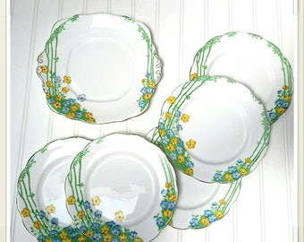 """RARE Royal Albert 1920s Tea Plates Set of Six in the """"Dell """" Pattern"""