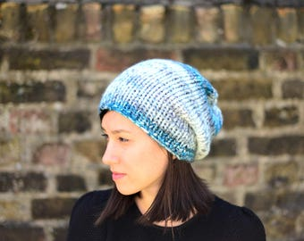 Hand Knit Hat Slouchy Hat womens Slouchy Hat Mens Slouchy Hat Chunky Knit Hat Spring Accessories Blue Gray White
