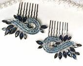 PAIR Navy Blue Bridal Hair Combs, Silver Crystal Rhinestone Sapphire Wedding Hairpiece, Something Blue Headpiece Art Deco Dark Blue Jewelry