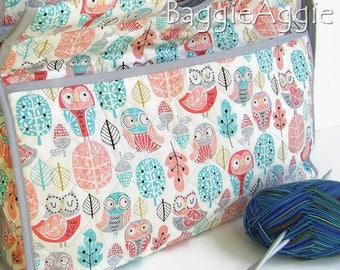 OWLS Knitting Bag, Kids' Knitting Bag, Sewing Bag, Pink, Turquoise, Grey. Storage, Projects. Gift for Knitters UK.
