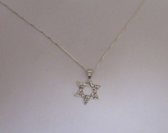 Sterling Silver Hammered Judaica Star Necklace, Simple Silver Star of David Pendant With Silver Chain, All Lengths Available, Unisex star