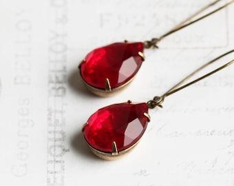 Large Ruby Red Rhinestone Teardrop Earrings on Antiqued Brass Hooks