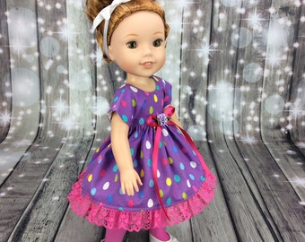 14.5 Inch Doll Clothes - Easter dress fits Dolls Like Wellie Wishers doll clothes