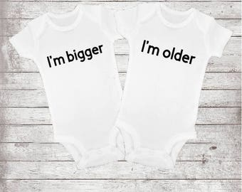Funny triplet onesie etsy twin onesies bodysuits funny baby shower gift im bigger im older matching negle Images
