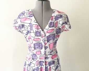 Vintage 80s Print Dress, Button Dress, Pattern Dress, Summer Dress, Day Dress, Party Dress, Pink and Purple, Abstract Dress, Size S