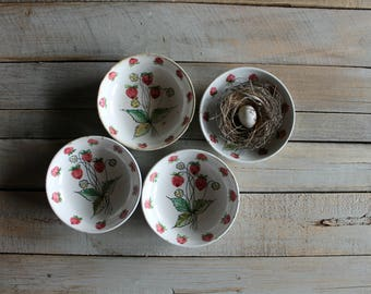 4 Vintage Italian Strawberry Dessert Bowls